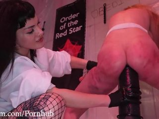 Blonde-haired sub with fine ass gets dominated by angry lesbians