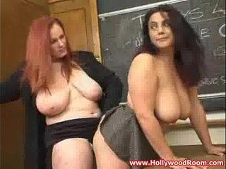 Hot teacher with big tits licks